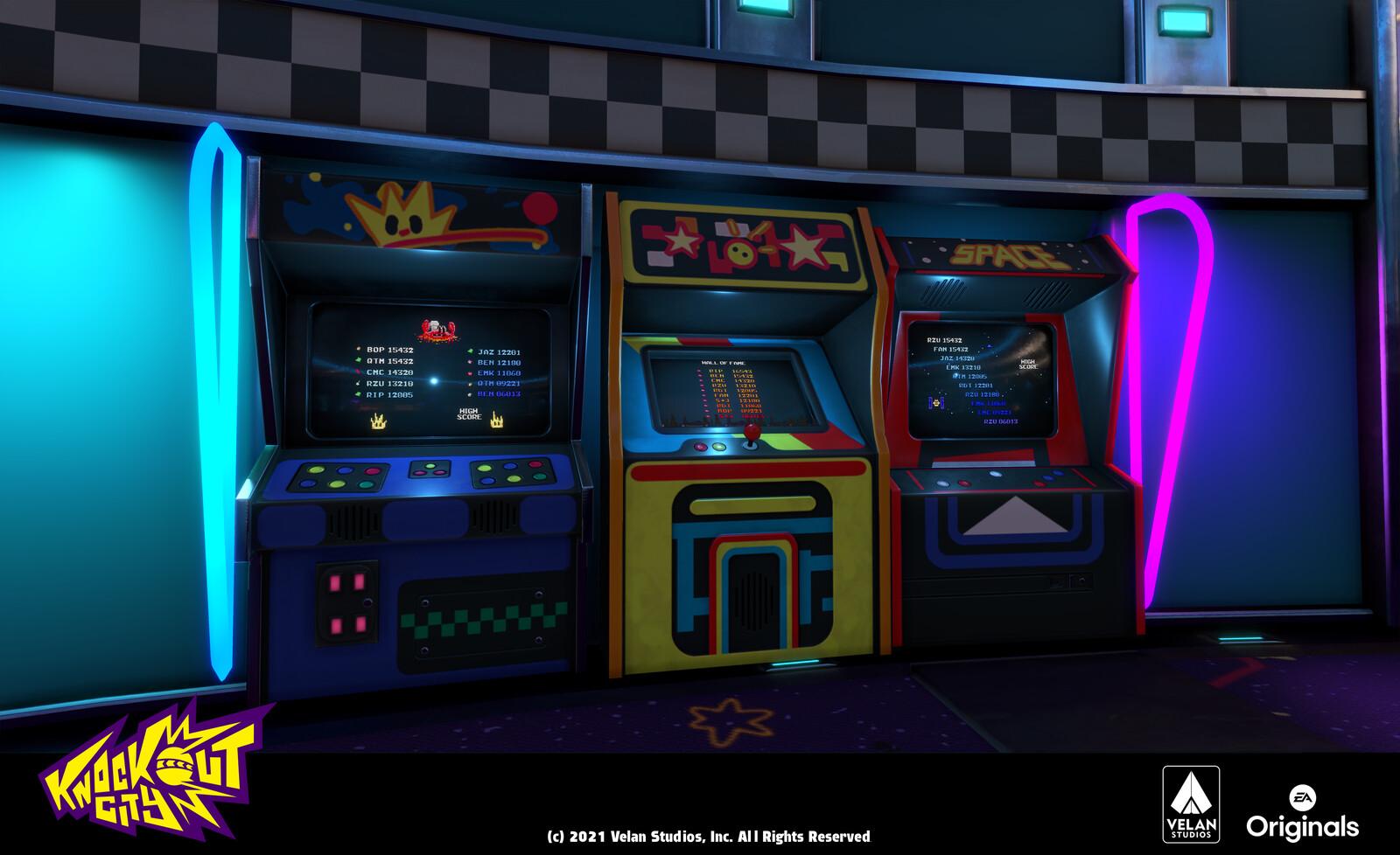 Arcade Cabinets close-up - Arcade screen FX done by Josie Doggett