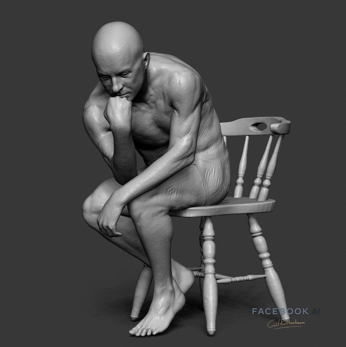 humain in pose and additional sculpt done for material