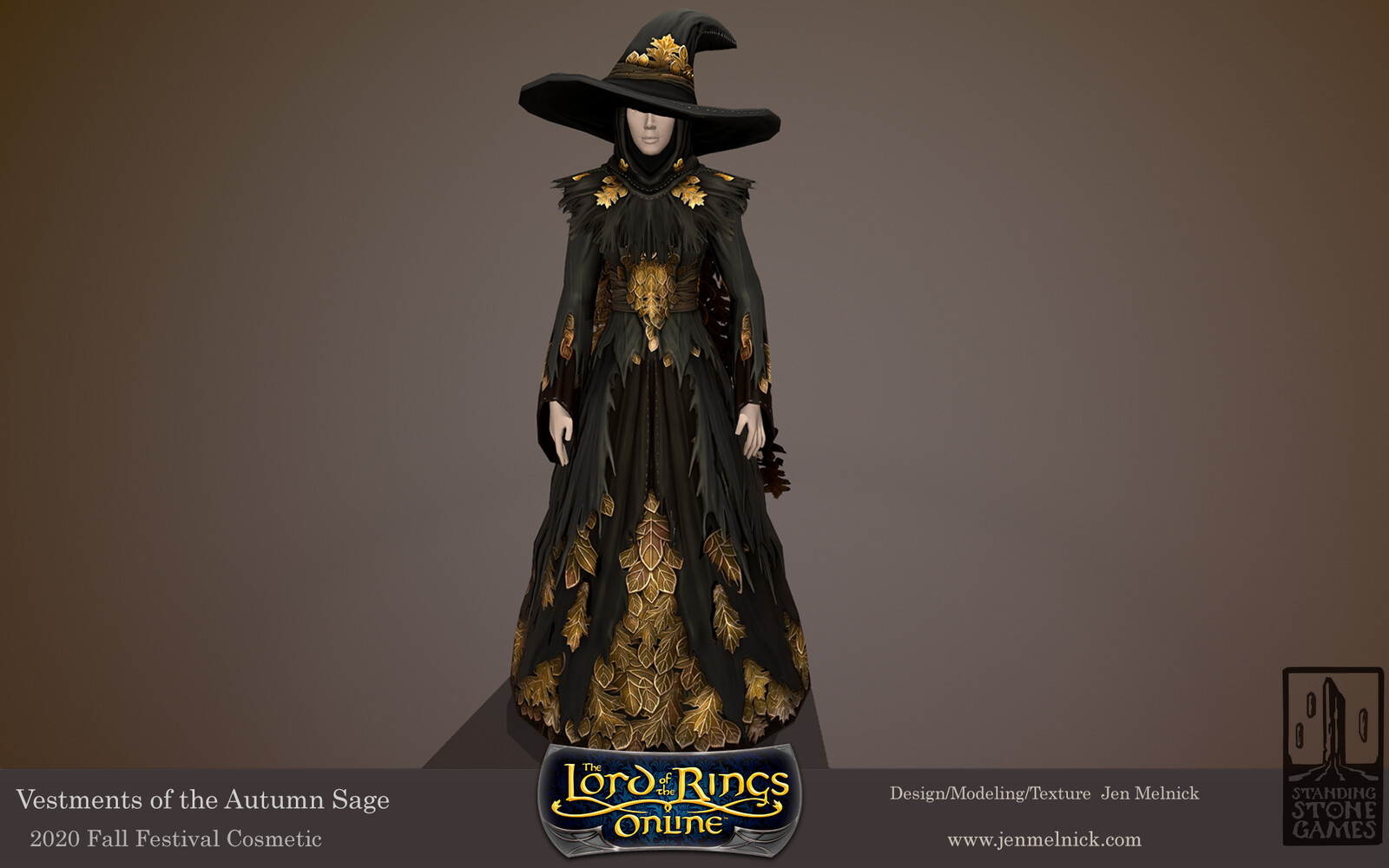 Lord of the Rings Online Vestments of the Autumn Sage Fall Festival 2020 Dress, Shoulders, Hat, and Cloak are all dyeable