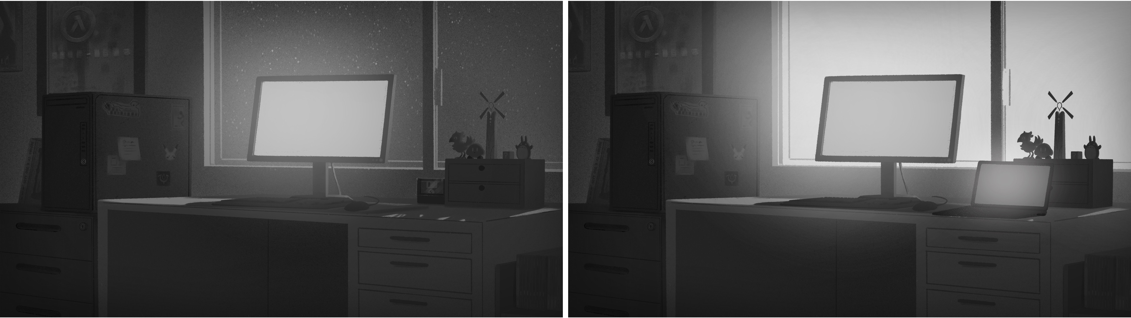 Intro/Outro Cutscene Backgrounds - Night/Day