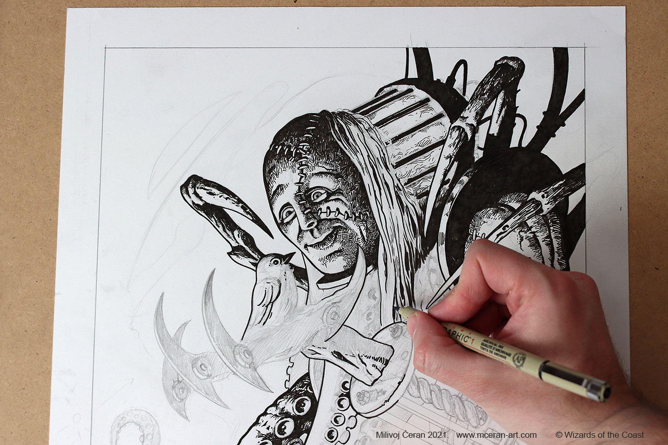 """""""Olag, Ludevic's Hubris"""" wip inking"""