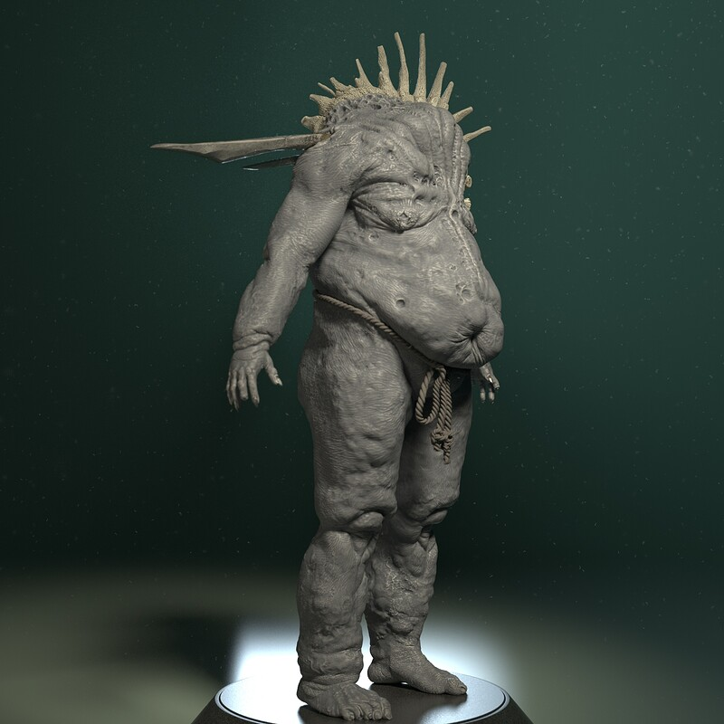 Warped Bloated Undead Warrior - High Poly