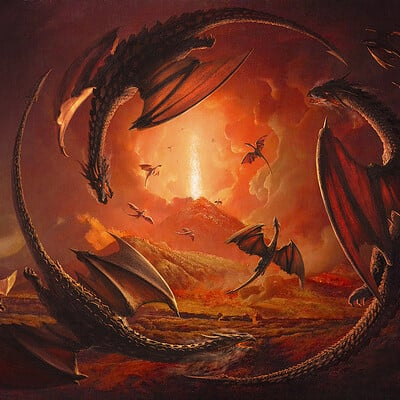 Dragons at Vesuvius from Portici after J.W. of Derby