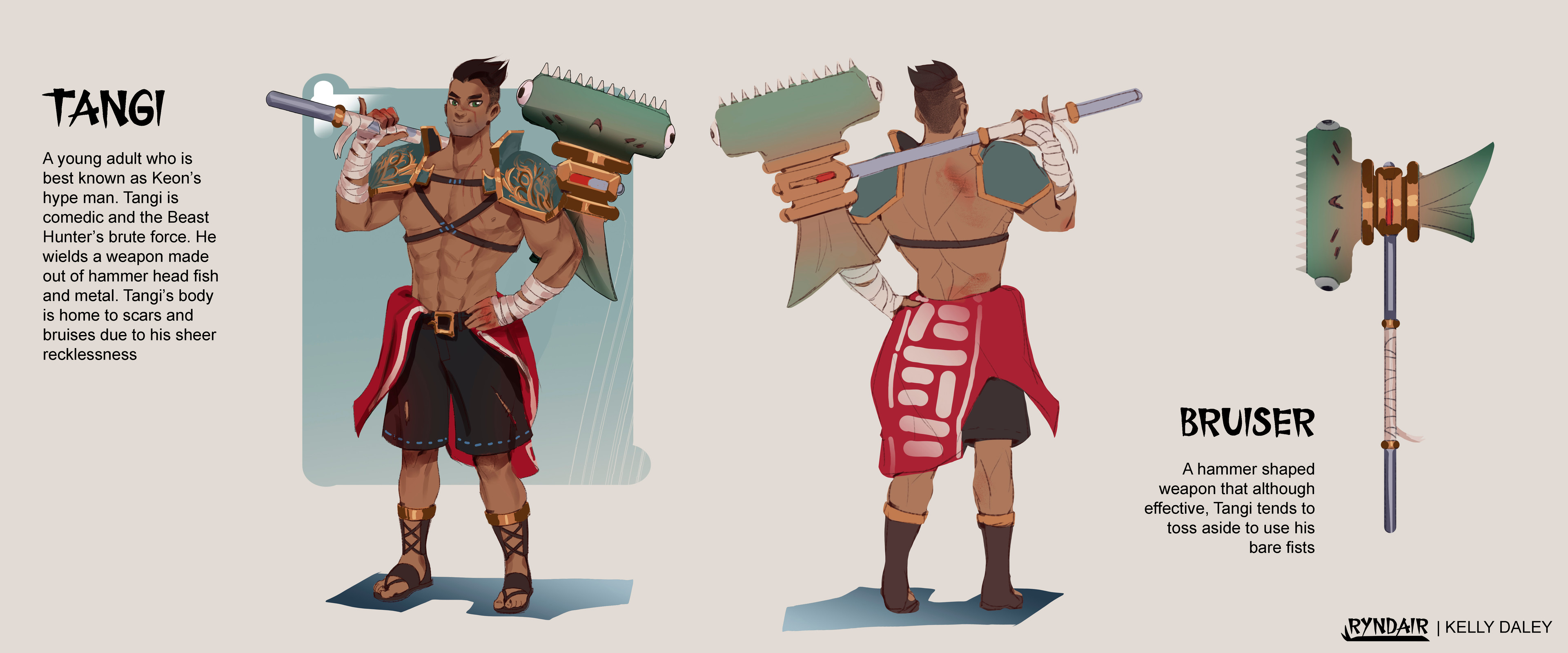 Tangi Character Sheet. He's the brute force of the trio and also the comic relief. His design is meant to be a tad mismatched and goofy but still strong looking. He has the most skin showing because he thinks his abs and scars are cool.