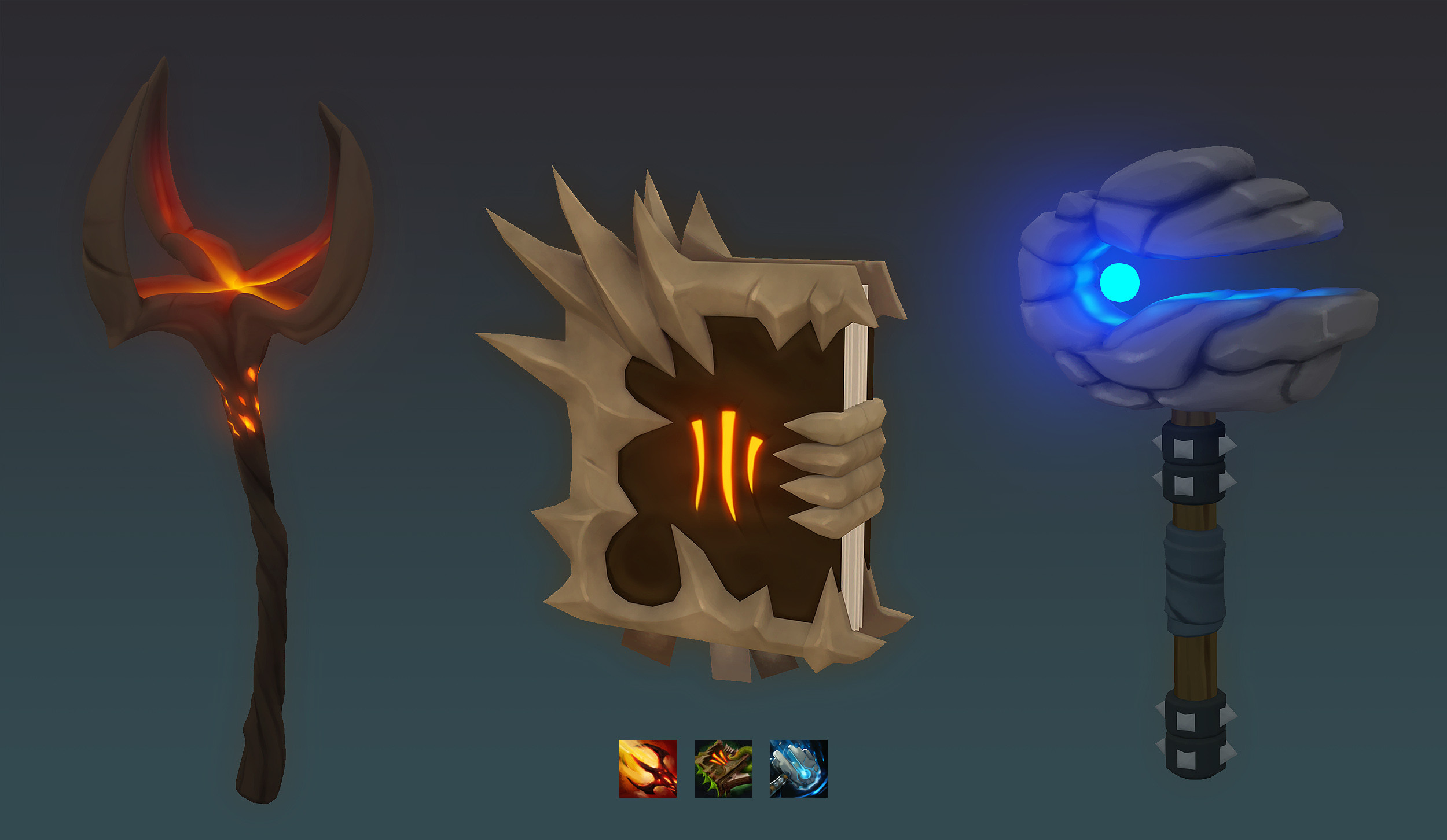 """Dagon, Necronomicon, and Meteor Hammer hold-able props with icons as """"concept art"""""""