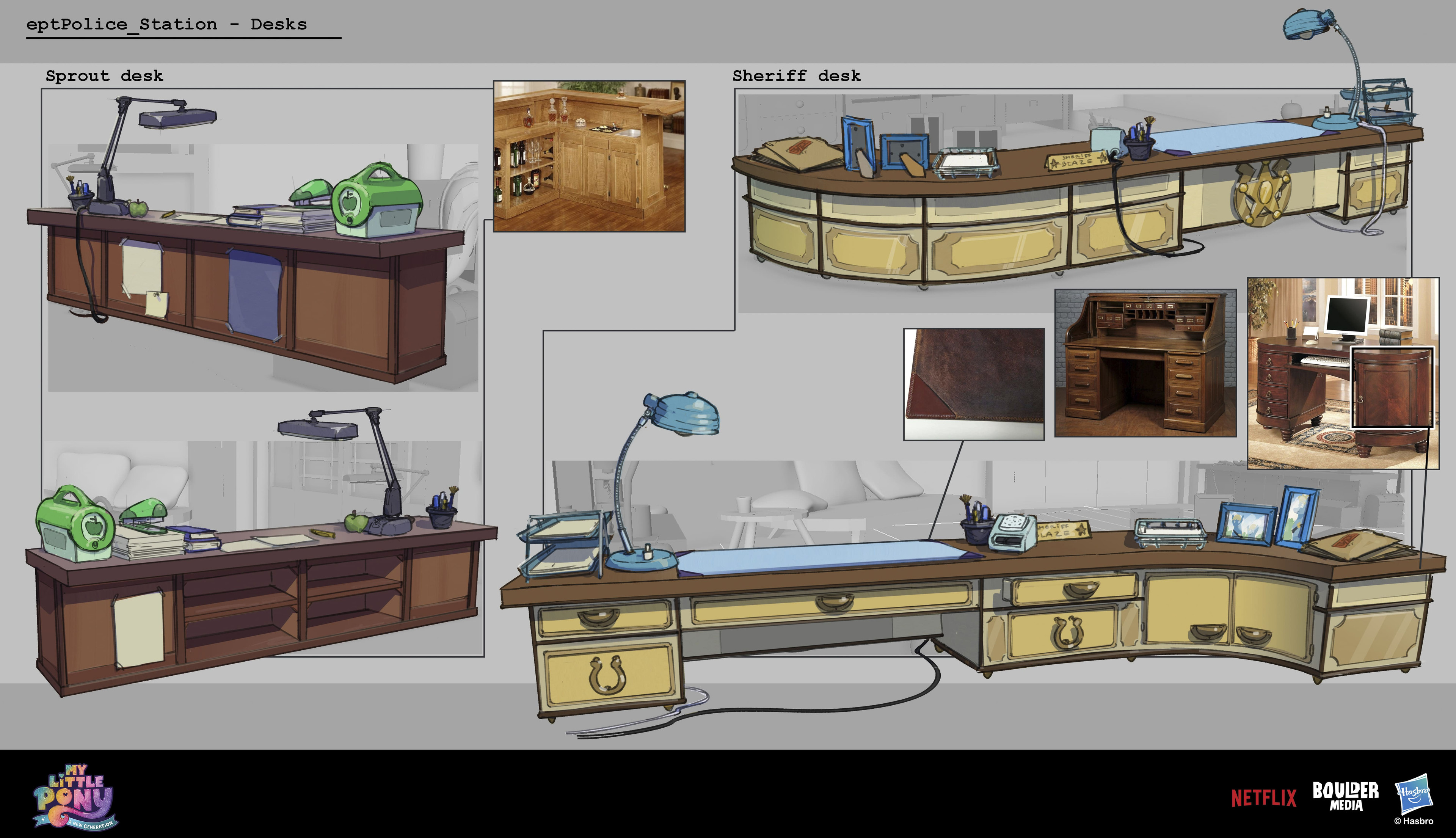 Some prop work for the sheriff and Sprout's desks.