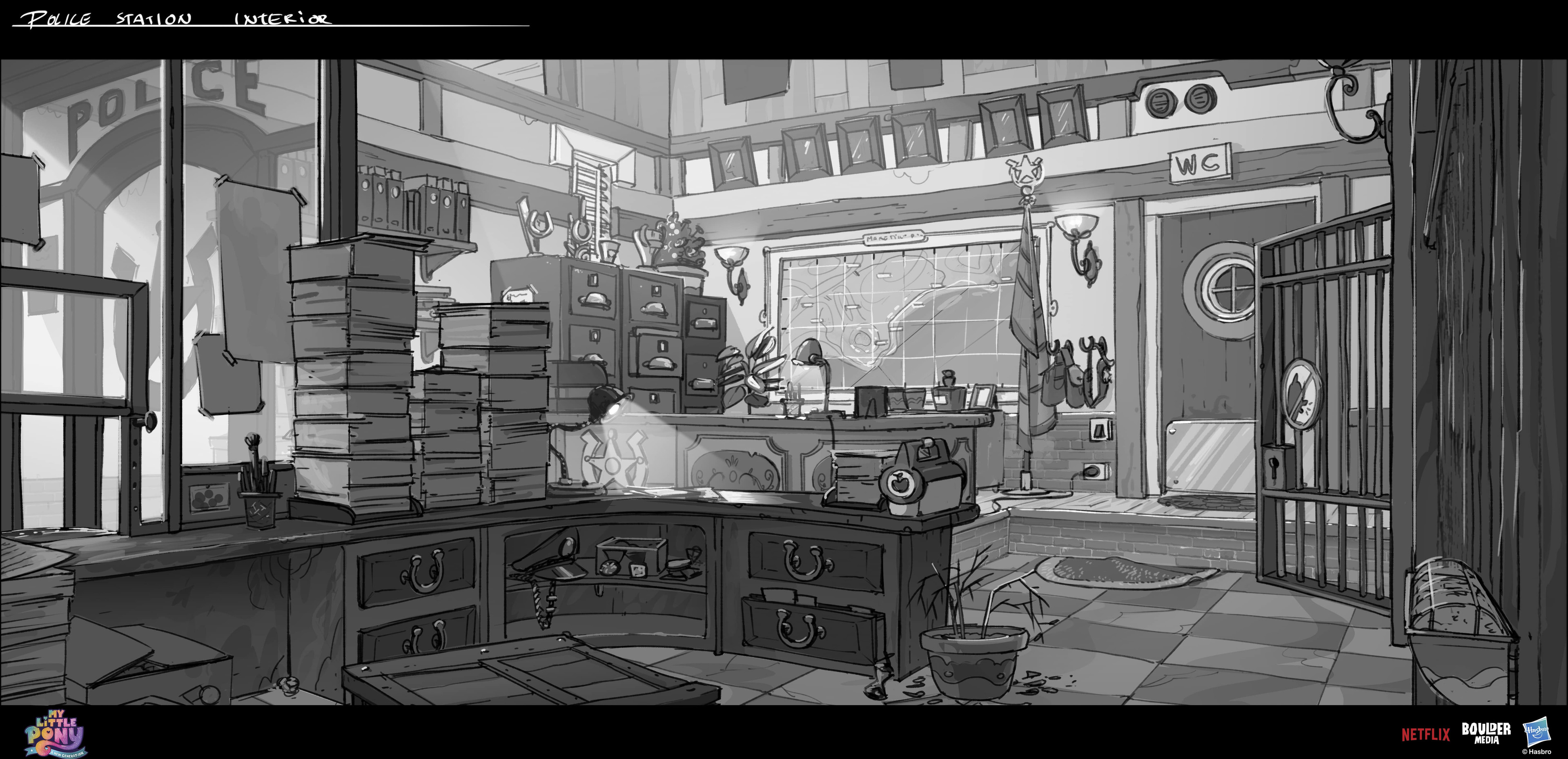 Early sheriff station, Sprout´s desk has some easter eggs for later in the movie :)