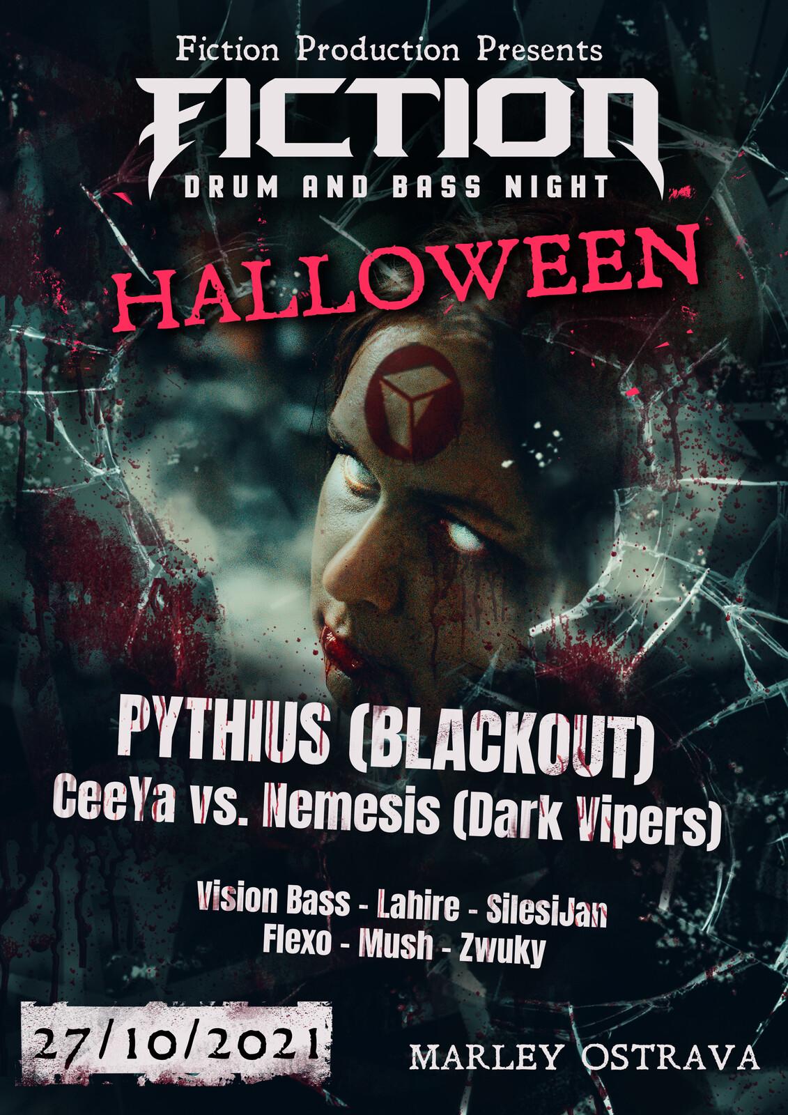Fiction DnB Halloween night graphics