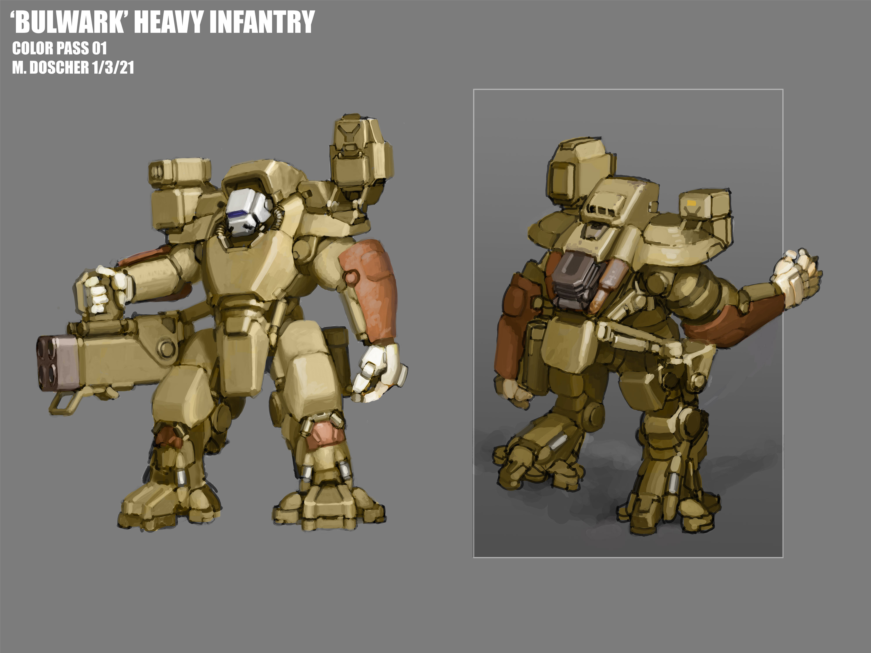 Power armor able to wield a variety of weapons.