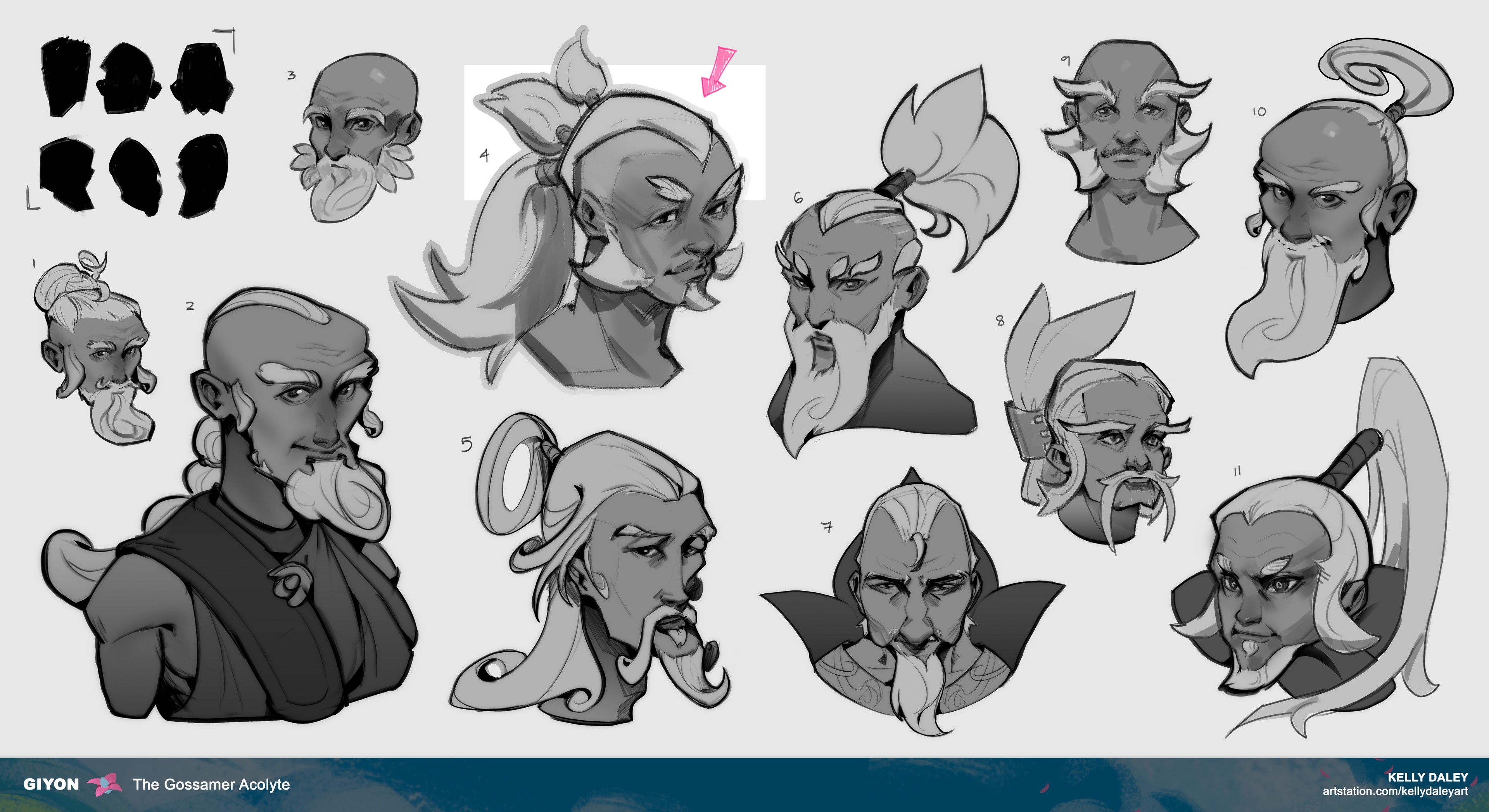 Early headshot explorations. With my newfound motifs for Giyon I ideated and decided that it would be best for me to find his face identity first.