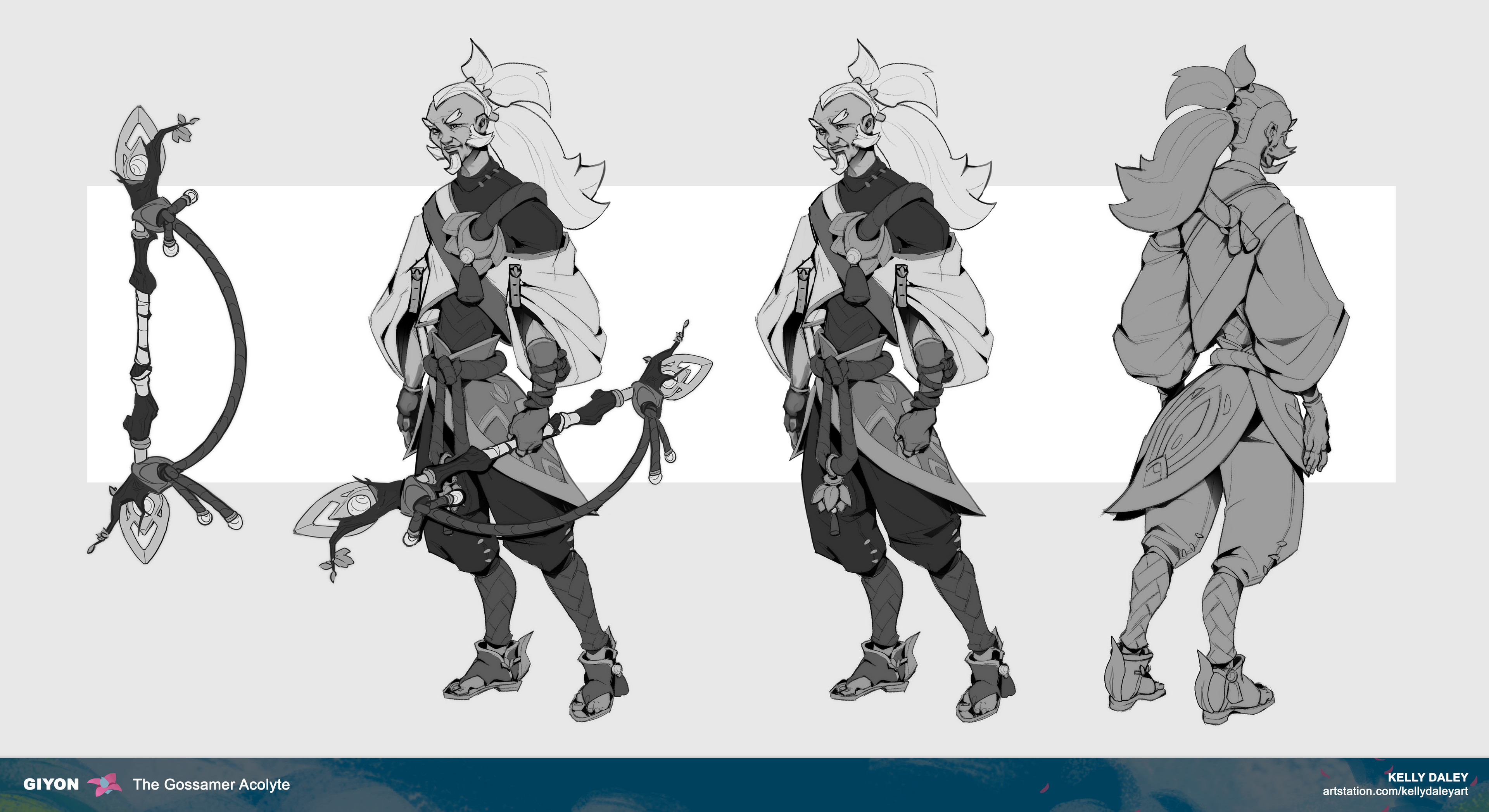 Turnaround sheet that was CLOSE to a final. There were small changes I made comparing this with the final in order to make for a clearer read for 3d character artists.