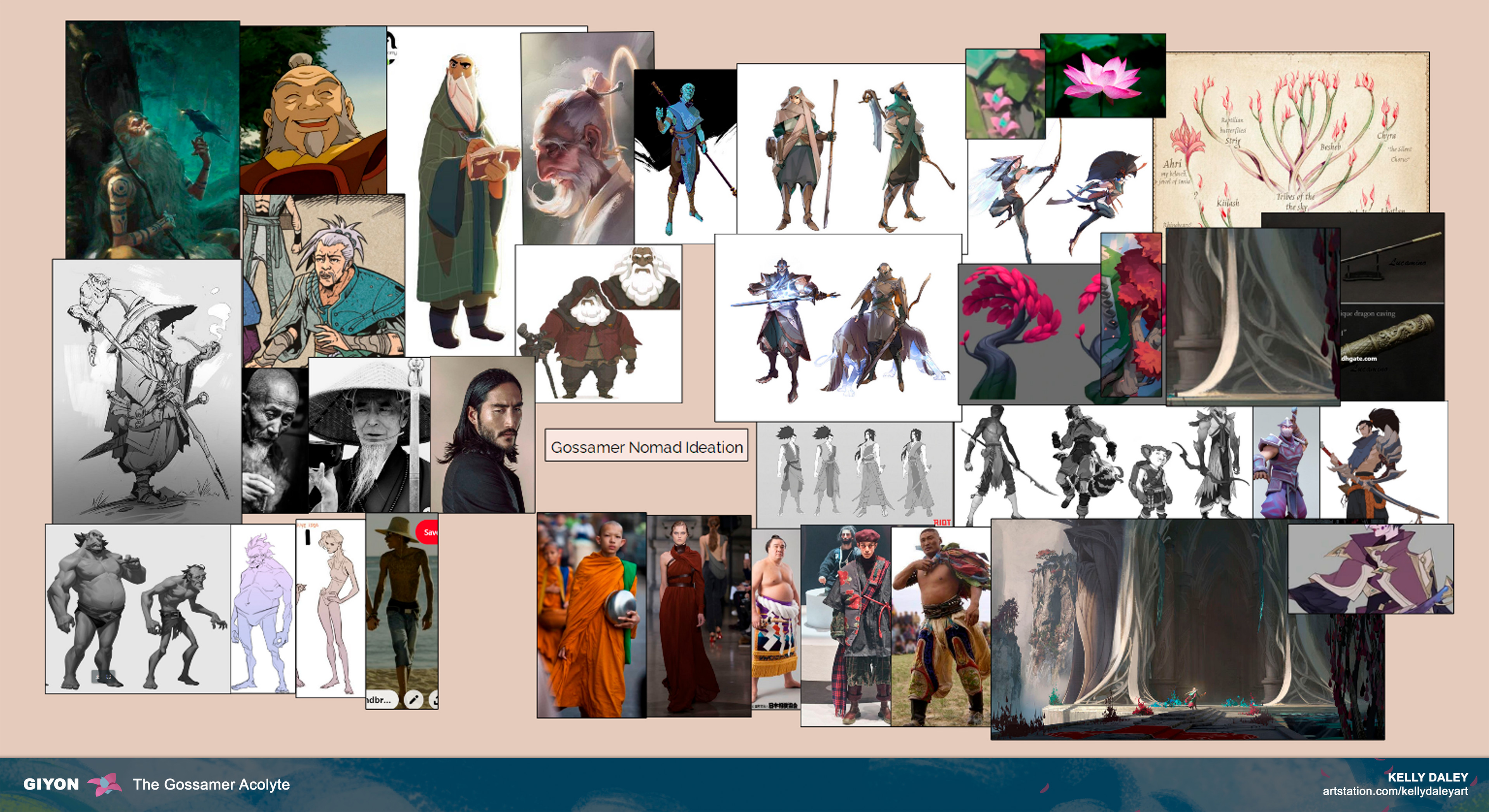 """The next step towards visualizing Giyon was to grab references of Ionian characters, textures + real life clothes, and images of """"old man"""" characters that successfully exist across entertainment. This aided in starting my ideation process."""