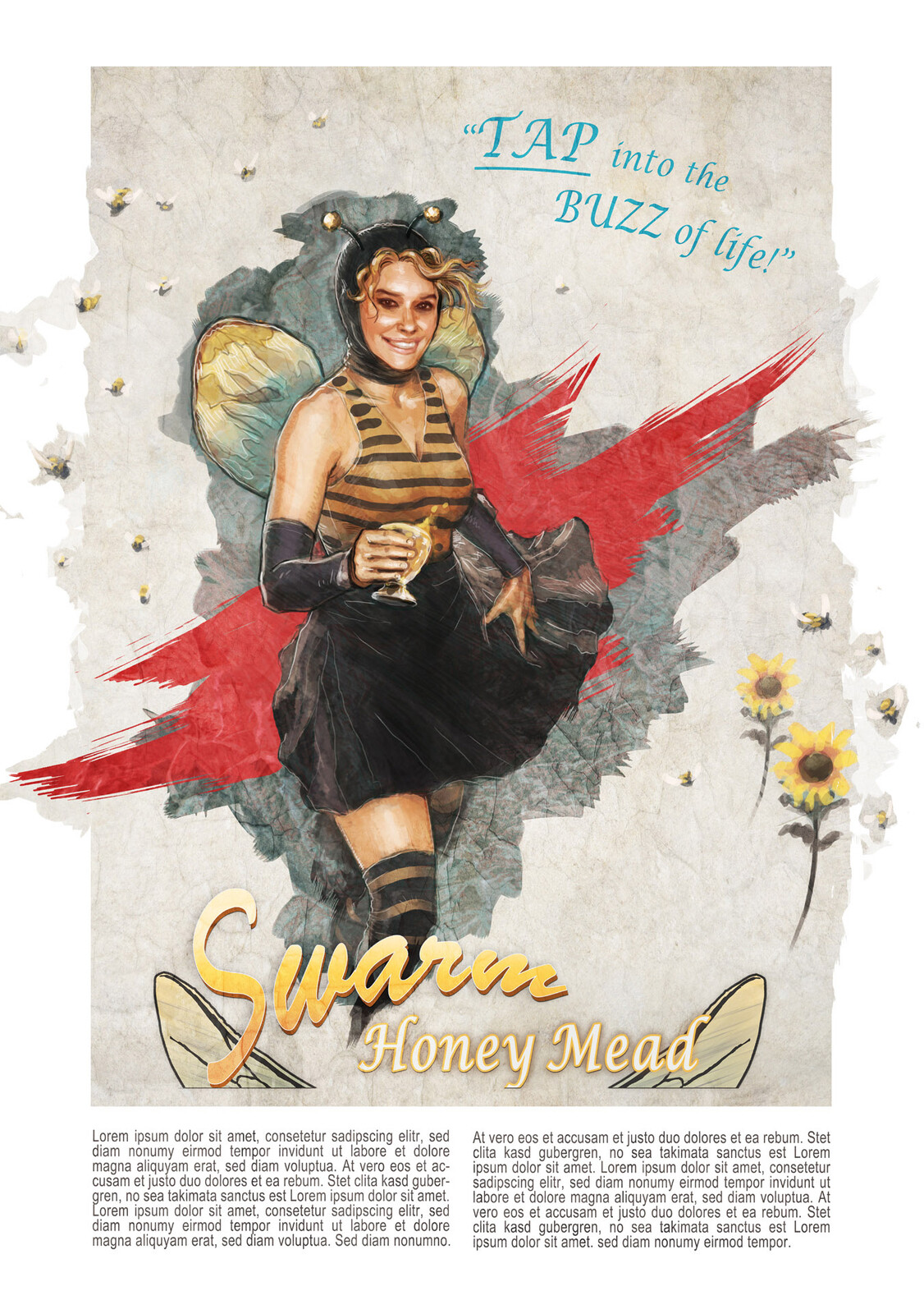 Bee Girl - Honey Mead Mascot
