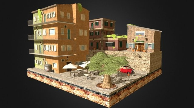 Low poly Sicily Cityscene