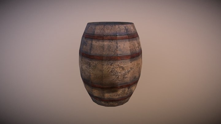 Game Ready Low Poly Barrel 02
