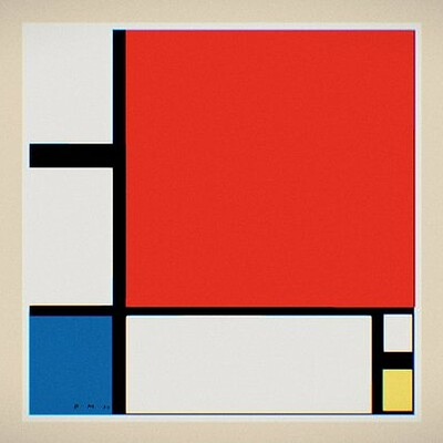 Composition II with Red Blue and Yellow 3D