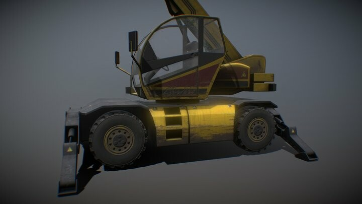 Crane Low Poly Background Vehicle