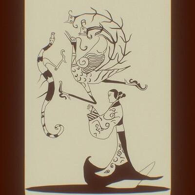 龍鳳仕女圖 Lady with Dragon and Phoenix 3D