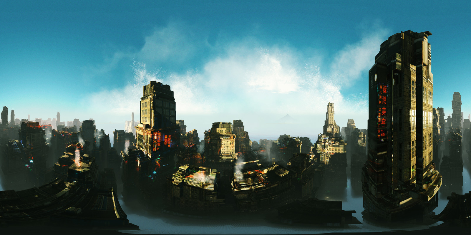 Sci Fi City - Keyshot panoramic lens test