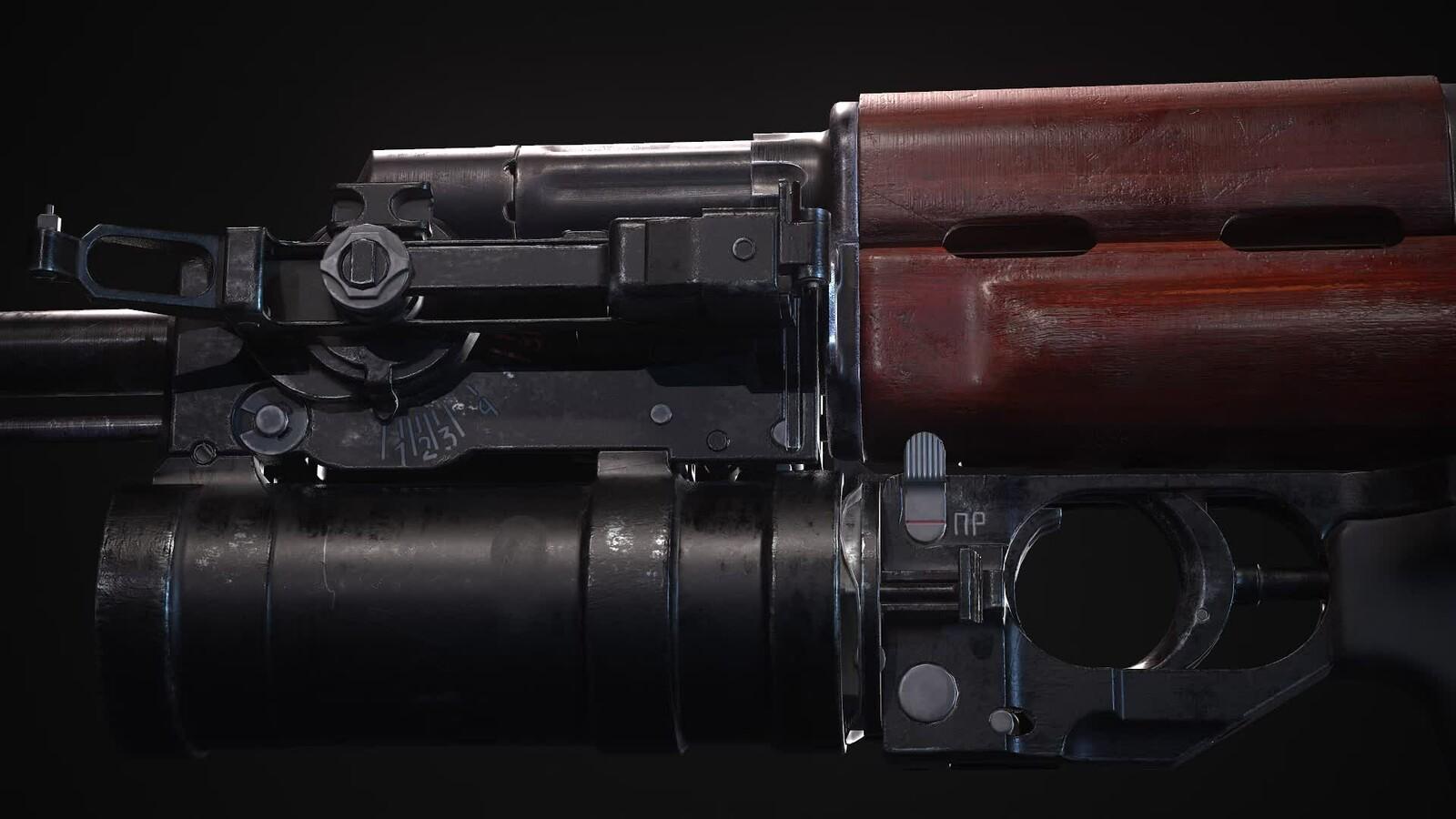 Kalashnikov AKM with GP-25 40mm launcher and all internals