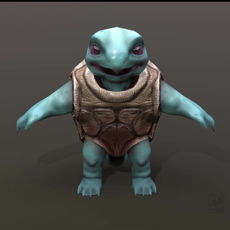 Squirtle lowpoly fanart