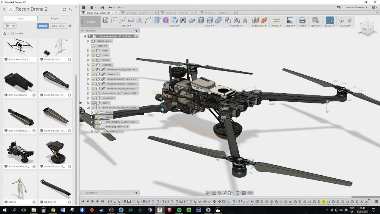 ArtStation - Fusion360 Hard Surface tutorial, drone design , Jort
