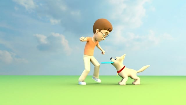 A boy and dog Animation