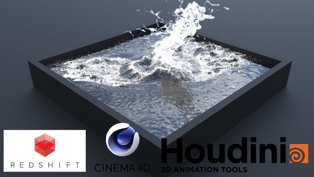 First flip simulation with Houdini, Cinema 4D and Redshift
