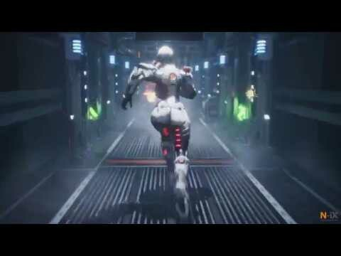 Cyborg escaping recycling facility