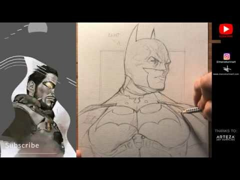 Watercolor: Drawing Batman in 40 Minutes! Pencil! PART 1
