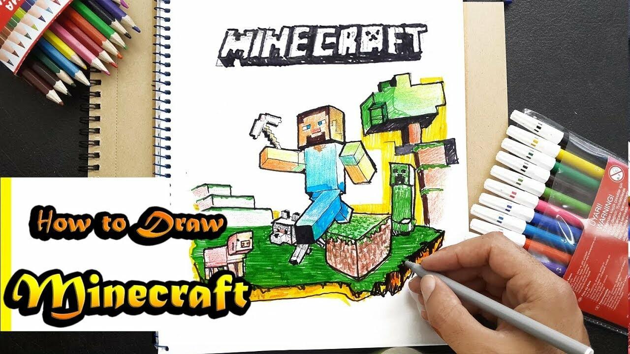 minecraft steve drawing step by step