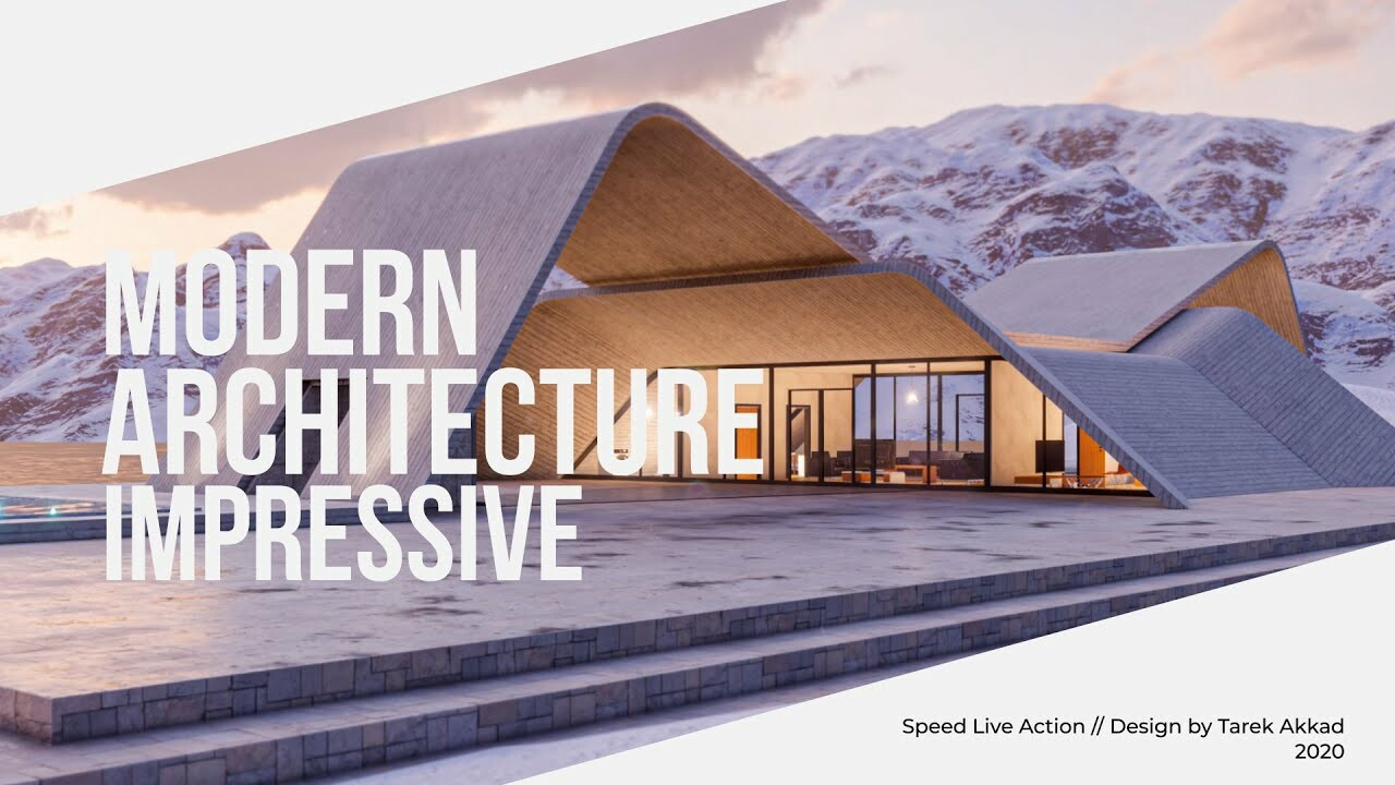 Zigzag 3D Modern Architecture Concept Make off Speed action