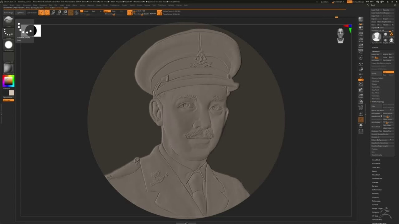 Cpt Sir Tom Moore - bas-relief Zbrush timelapse