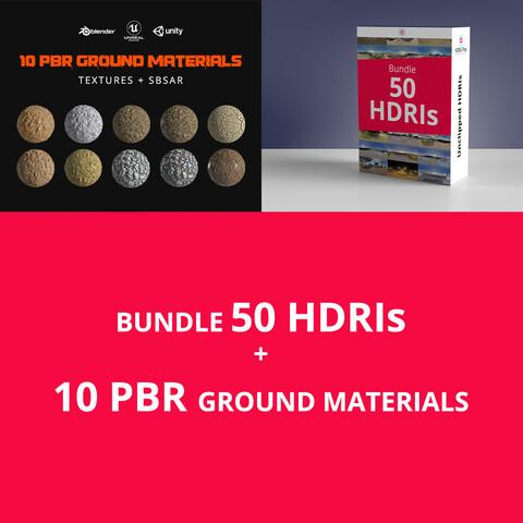 Bundle 50 HDRis + 10 PBR Ground Materials