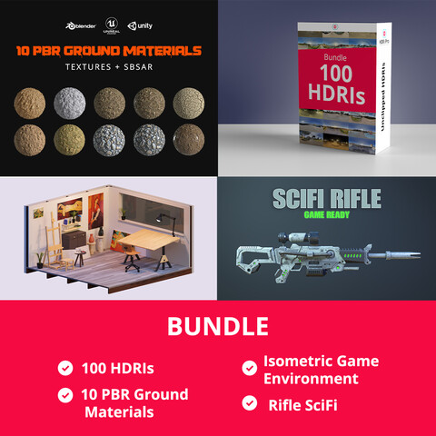 Bundle 100 HDRis + 10 Textures PBR + Isometric Game Environment + Rifle SciFi Game Asset
