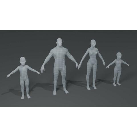 Standard Human Body Base Mesh 3D Model