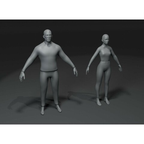 Clothed Male and Female Body Base Mesh 3D Model 10k Polygons Bundle