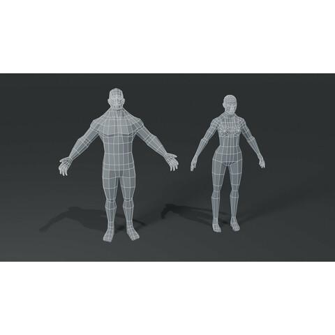 Muscular Human Body Base Mesh 3D Model Bundle 1000 Polygons