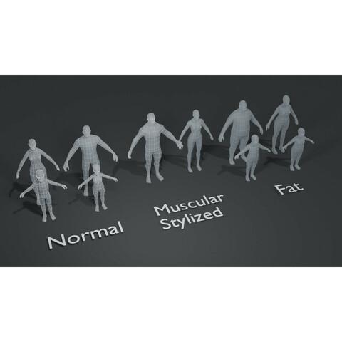 Human Body Base Mesh 1000 Polygons 10 3D Models Bundle