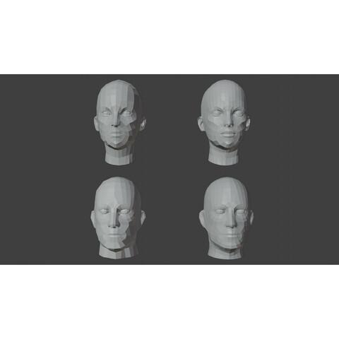Low Poly Human Heads Bundle