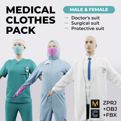 Medical clothes pack (male & female) | Standard License