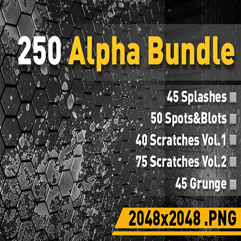 🟥250 Alpha Pack [Splashes, Scratches, Grunge, Spots&Blots]