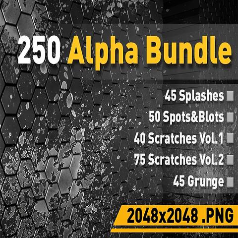 🟥250 Alpha Pack [Splashes, Scratches, Grunge, Spots&Blots]
