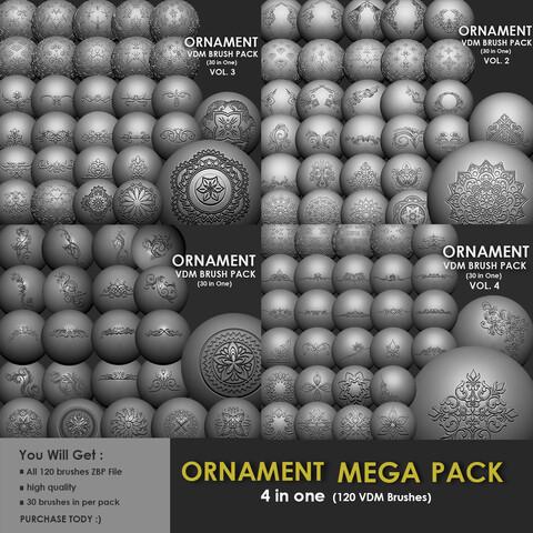 ORNAMENT MEGA PACK (4 IN ONE - 120 BRUSHES)