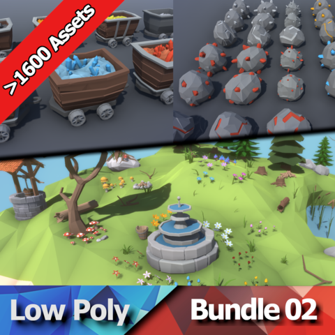 Low Poly Bundle 02 - Nature & Mining Packs