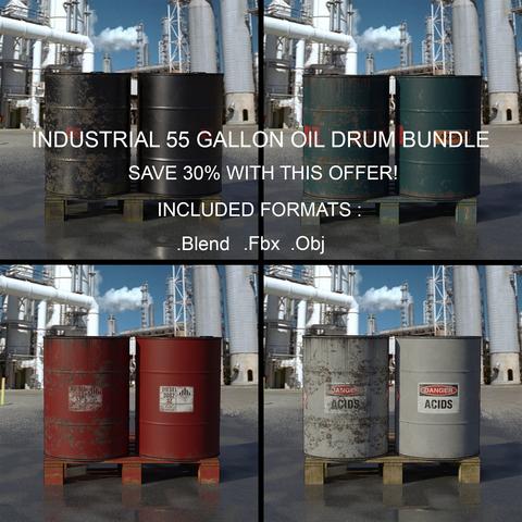 Industrial 55 Gallon Oil Drum Bundle