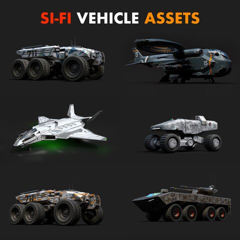 !!!50% DISCOUNT!!! Si-Fi Vehicle Assets Full Sets With !!!50% DISCOUNT!!!
