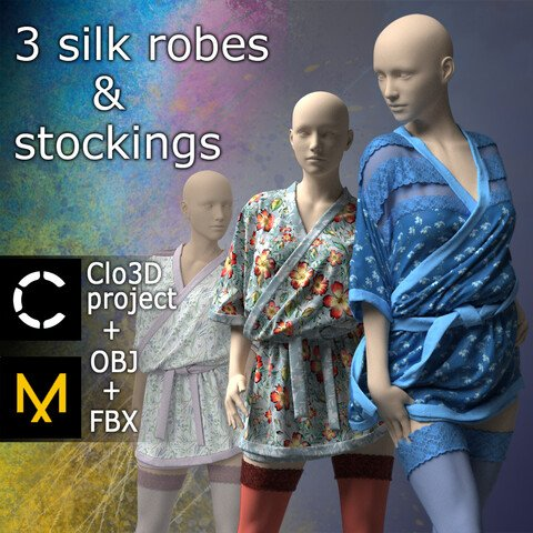 3 Silk robes and stockings. Marvelous Designer and Clo3D project.