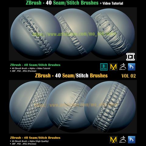 2 ZBrush -Seam/Stitch Brushes bundle