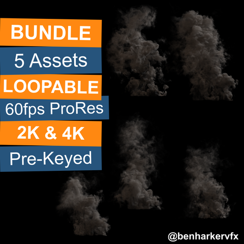 BHVFX - 5x 4K Loopable Smoke VFX Assets
